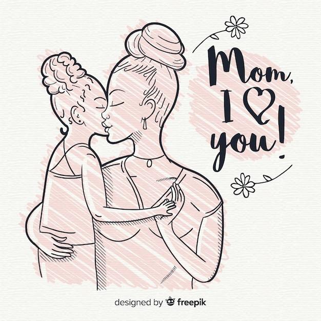 Fond de fête des mères dessiné à la main Vecteur gratuit
