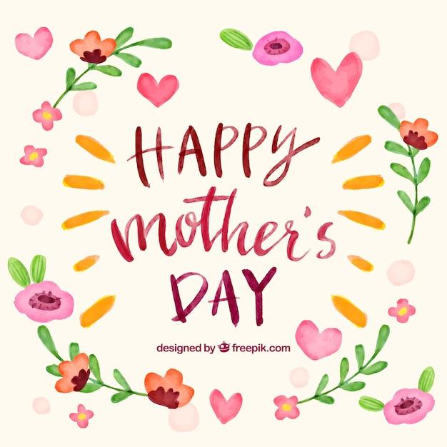 Fond de la fête des mères avec des fleurs d'aquarelle Vecteur gratuit