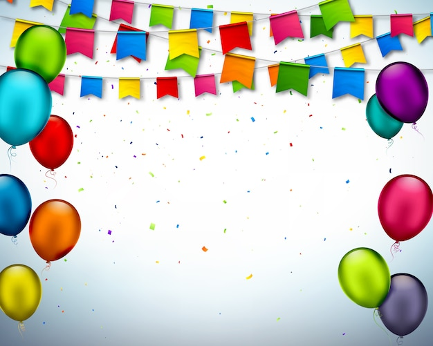 Fond fête avec des ornements colorés Vecteur Premium