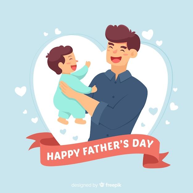 Fond de fête des pères dessinés à la main Vecteur gratuit