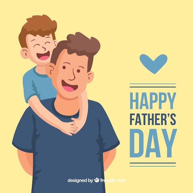 Fond De Fête Des Pères Avec Une Famille Heureuse Vecteur Premium