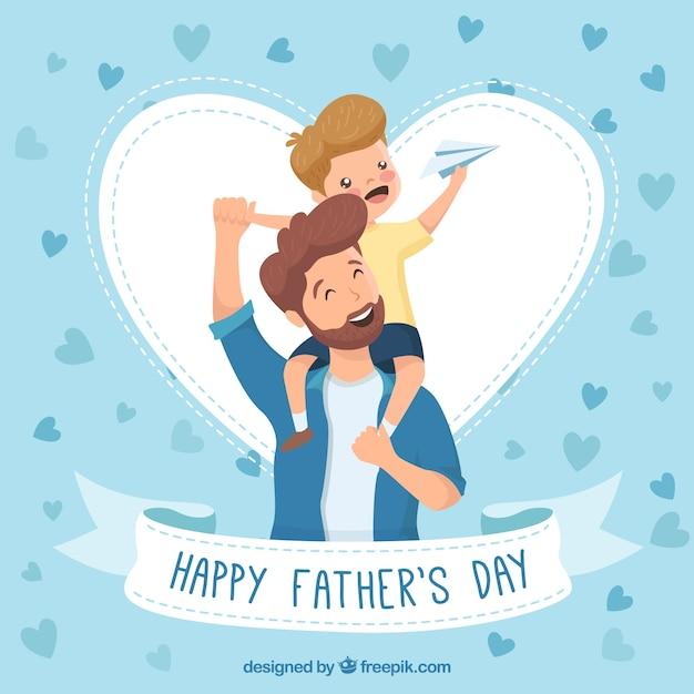 Fond de fête des pères avec une famille heureuse Vecteur gratuit