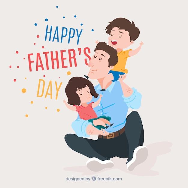 Fond de fête des pères avec une famille mignonne Vecteur gratuit