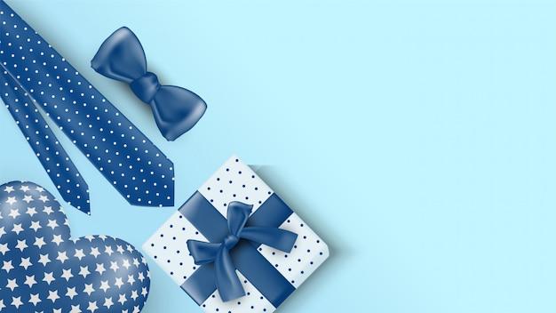 Fond De Fête Des Pères Avec Illustrations De Coffrets Cadeaux, Cravates, Rubans Et Ballons D'amour En 3d. Vecteur Premium