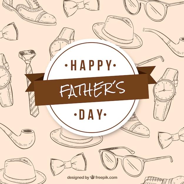 Fond De Fête Des Pères Avec Motif En Style Dessiné à La Main Vecteur gratuit
