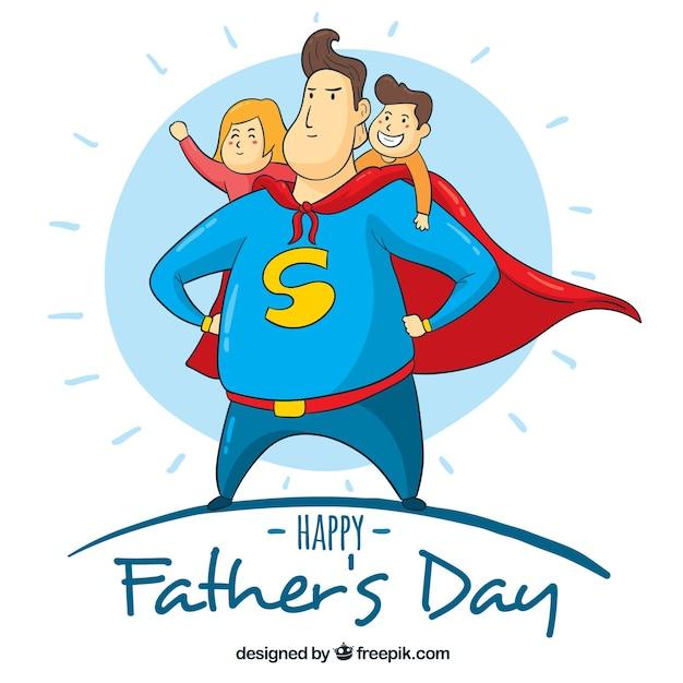 Fond de fête des pères avec superdad Vecteur gratuit