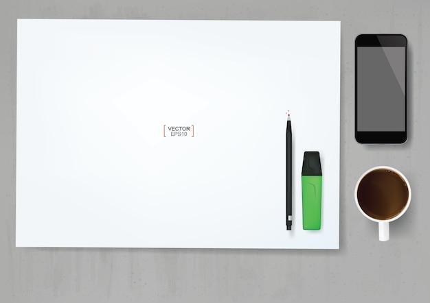 Fond de feuille de papier blanc avec objet de bureau sur fond de