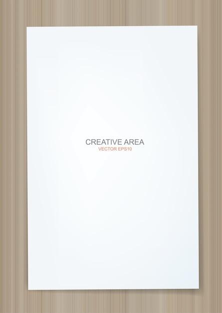 Fond De Feuille De Papier Blanc Sur La Texture Du Bois Vecteur Premium
