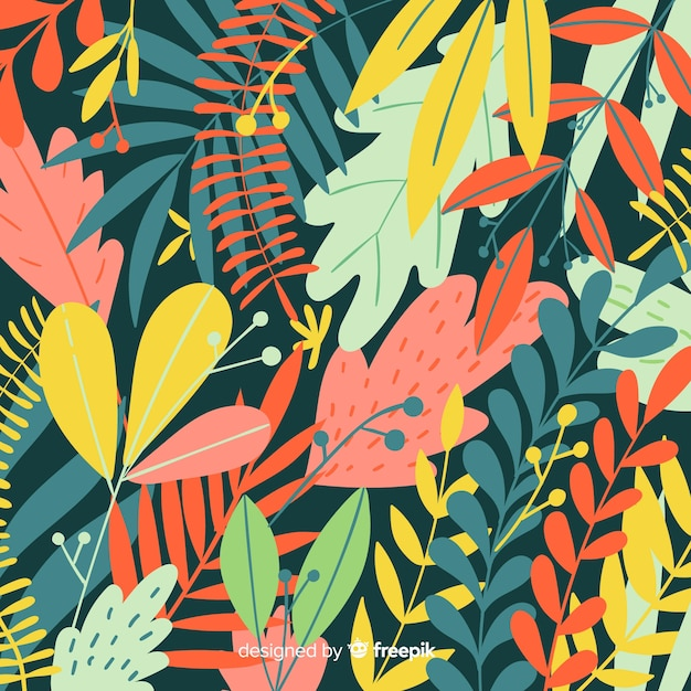 Fond de feuilles colorées dessinées à la main Vecteur gratuit