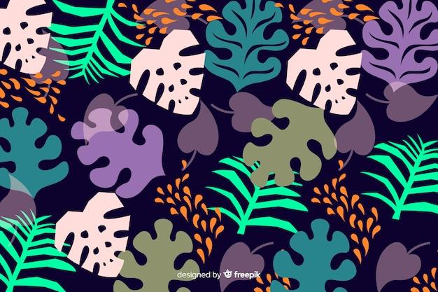 Fond de feuilles colorées tropicales dessinées à la main Vecteur gratuit