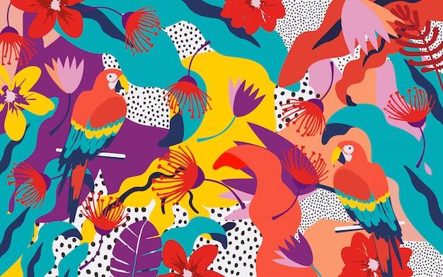 Fond de feuilles et de fleurs tropicales avec des perroquets Vecteur Premium