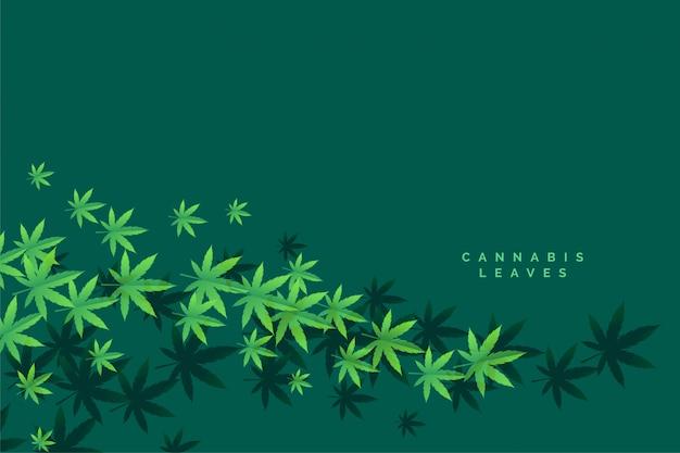Fond De Feuilles Flottantes De Marijuana Et Cannbis élégant Vecteur gratuit
