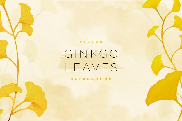 Fond de feuilles de ginkgo Vecteur gratuit