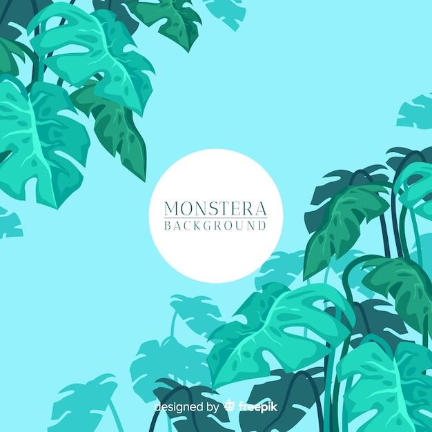 Fond de feuilles de monstera plat Vecteur gratuit