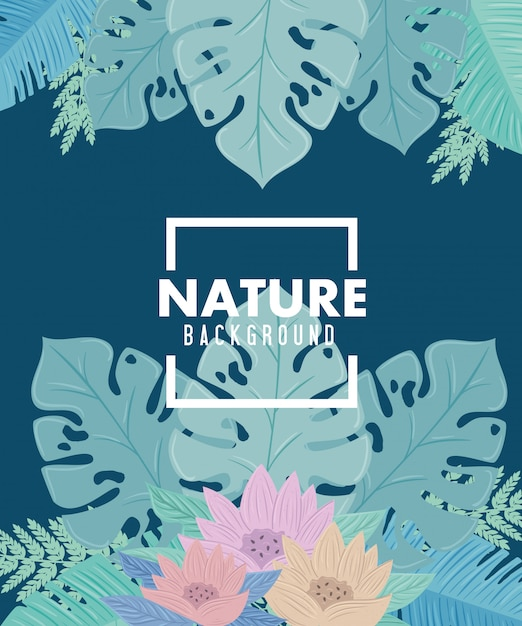 Fond, Feuilles De Nature Tropicale Avec Des Fleurs De Couleur Pastel Vecteur Premium