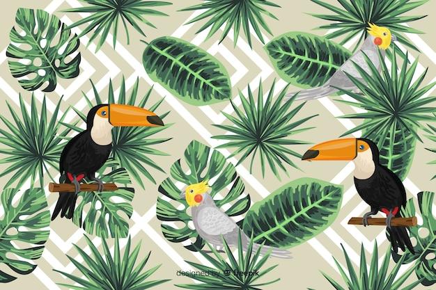 Fond de feuilles et d'oiseaux tropicaux Vecteur gratuit