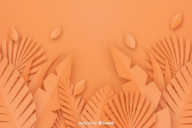 Fond De Feuilles Orange Monochrome Vecteur gratuit