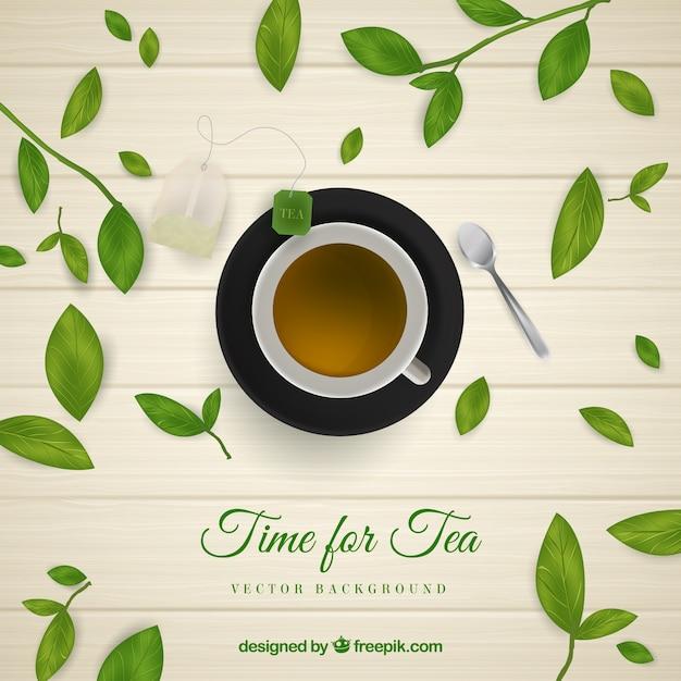 Fond de feuilles de thé avec un style réaliste Vecteur gratuit