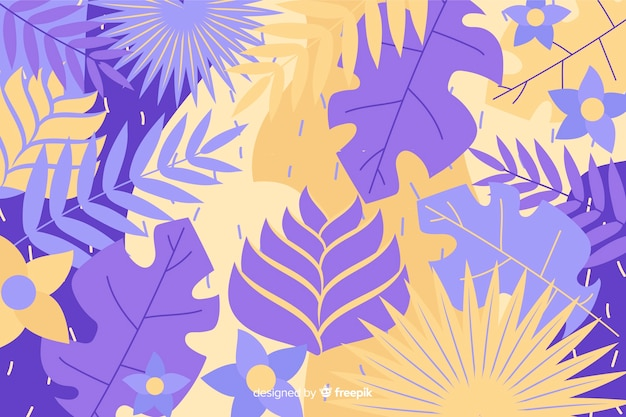 Fond de feuilles tropicales abstraites dessinées à la main Vecteur gratuit