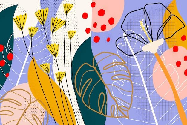 Fond De Feuilles Tropicales Abstraites Vecteur gratuit