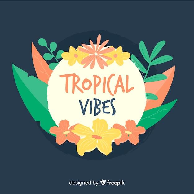 Fond de feuilles tropicales dessinées à la main Vecteur gratuit
