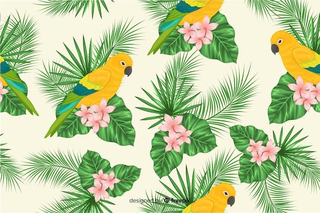 Fond de feuilles tropicales et d'oiseaux exotiques Vecteur gratuit