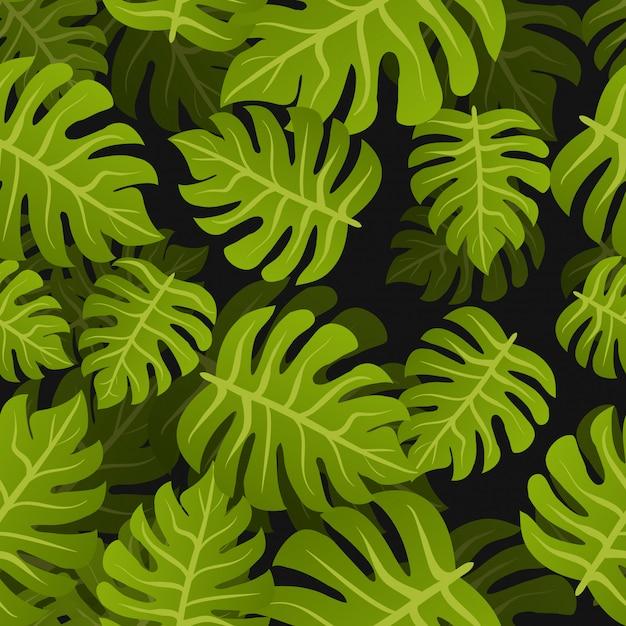 Fond De Feuilles Tropicales Sans Soudure. Modèle De Conception Nature été Floral. Style Botanique Vecteur Premium