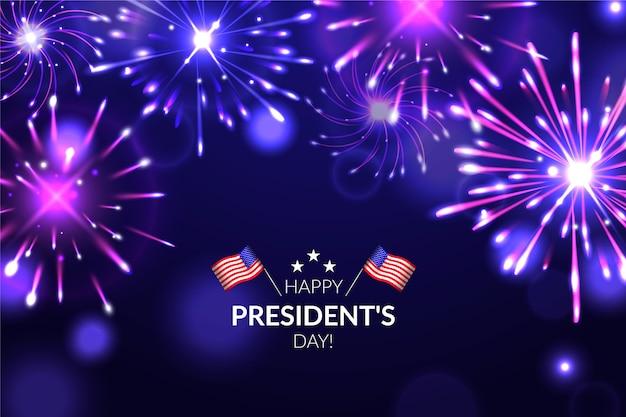 Fond De Feux D'artifice Du Jour Du Président Vecteur gratuit