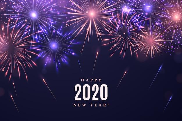Fond de feux d'artifice nouvel an 2020 Vecteur gratuit