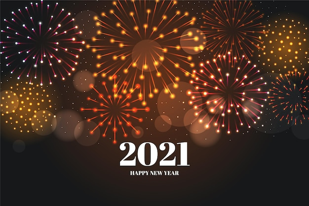 Fond De Feux D'artifice Nouvel An 2021 Vecteur Premium