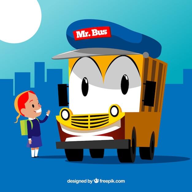 Fond de fille et bus scolaire Vecteur gratuit
