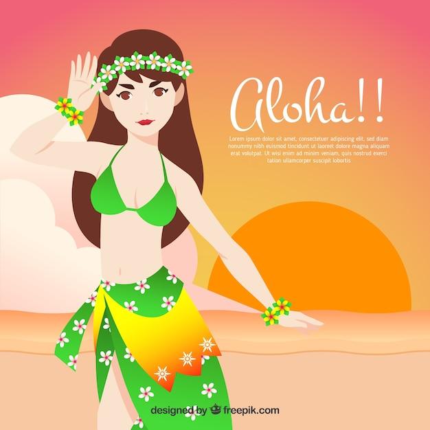 Fond d'une fille hawaïenne sur la plage au coucher du soleil Vecteur gratuit