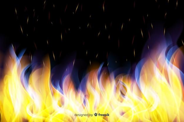 Fond de flammes réaliste Vecteur gratuit