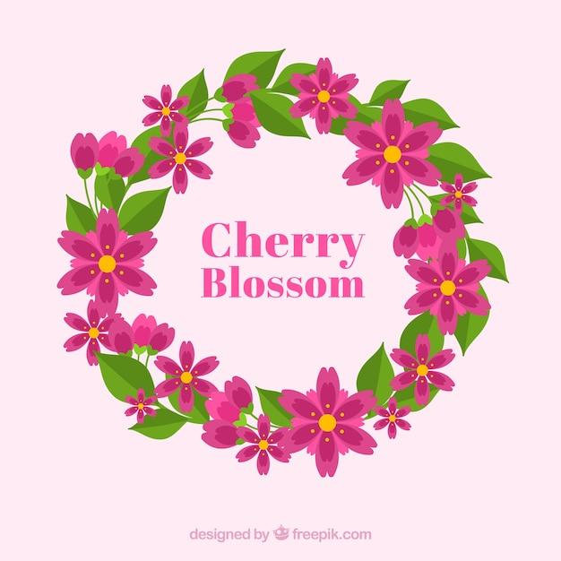 Fond De Fleur De Cerisier Dans Un Style Plat Vecteur gratuit