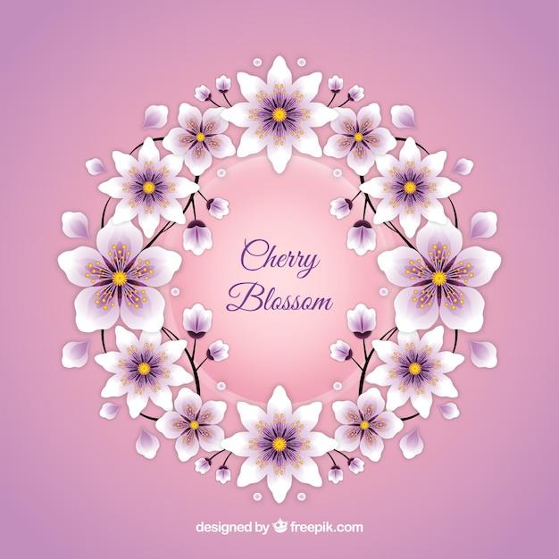 Fond De Fleur De Cerisier Dans Un Style Réaliste Vecteur gratuit