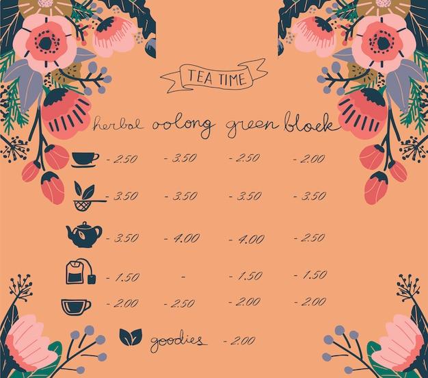 Fond de fleur de restaurant l'heure du thé Vecteur Premium
