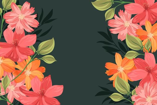 Fond De Fleurs 2d Vintage Vecteur gratuit