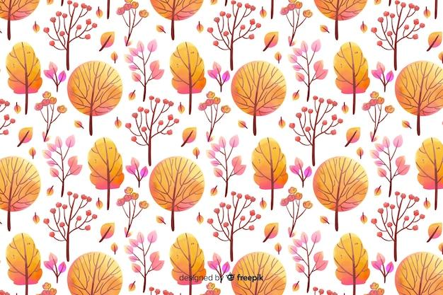 Fond De Fleurs Aquarelles Monochromes Dans Les Tons Orange Vecteur gratuit