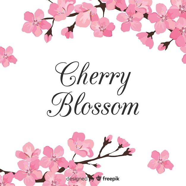 Fond De Fleurs De Cerisier Dessinés à La Main Vecteur Premium