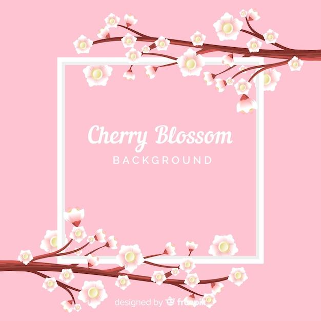 Fond de fleurs de cerisier dessinés à la main Vecteur gratuit