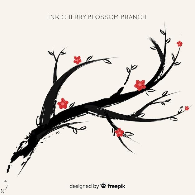 Fond de fleurs de cerisier d'encre Vecteur gratuit