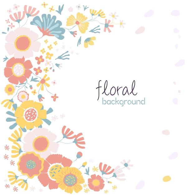 Fond de fleurs colorées dessinées à la main Vecteur Premium