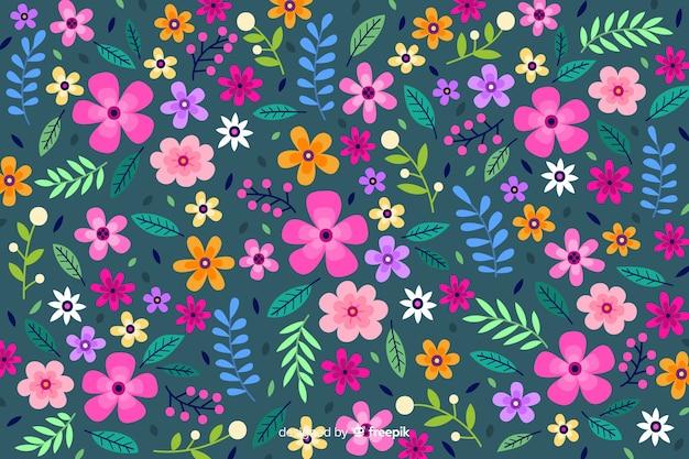 Fond de fleurs colorées ditsy Vecteur gratuit