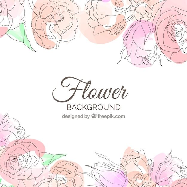 Fond de fleurs dans un style aquarelle Vecteur gratuit