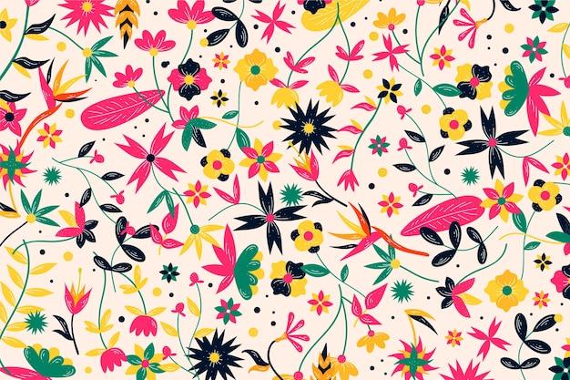 Fond De Fleurs Exotiques Colorées Vecteur gratuit