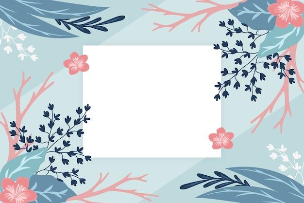 Fond de fleurs d'hiver avec badge vide Vecteur gratuit