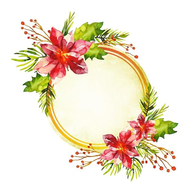 Fond De Fleurs D'hiver Coloré Avec Badge Vide Vecteur gratuit