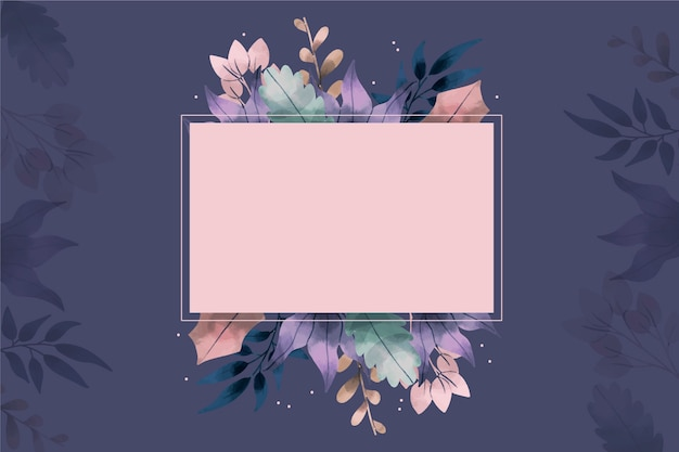 Fond de fleurs d'hiver dessinés à la main avec badge vide Vecteur gratuit