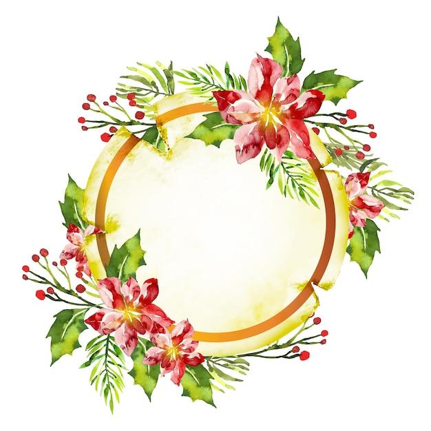 Fond De Fleurs D'hiver Pour Badge Vecteur gratuit