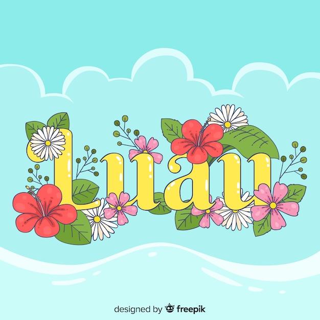 Fond de fleurs mot luau Vecteur gratuit
